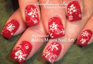 Snowflake Nails Red Nail Art Christmas Design Ideas White Snowflakes Winter