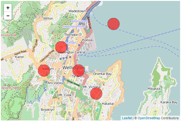 D3js tips and tricks leaflet map with d3js elements that are d3js circles fixed in geographic location on leaflet map but constant size gumiabroncs