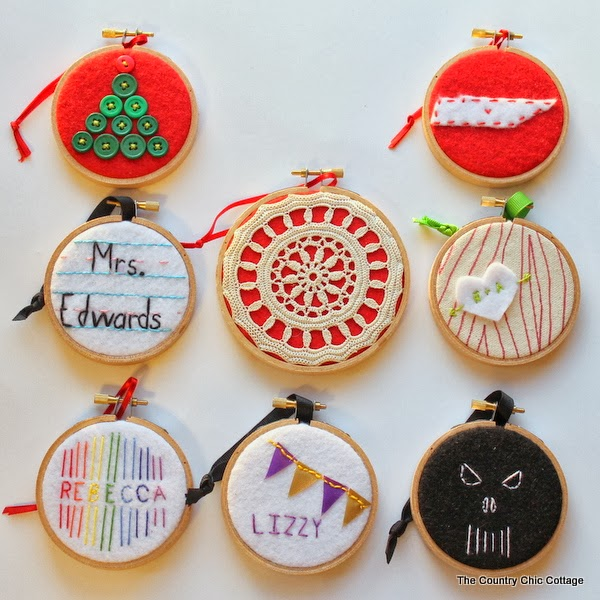 Handmade gift 8 hoop ornament ideas the country chic Country christmas gifts to make