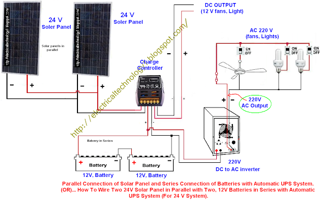 electrical technology how to wire two 24v solar panels in parallel with two 12v batteries in