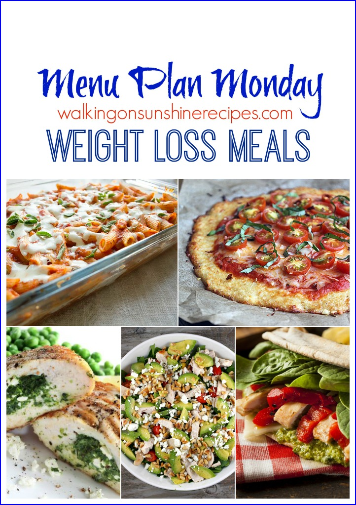 Menu Plan Monday - Weight Loss Meals and Goals 2016 from Walking on Sunshine.  This week's Menu Plan Monday is all about recipes that are low in calories to help us all reach our weight loss goals for 2016.