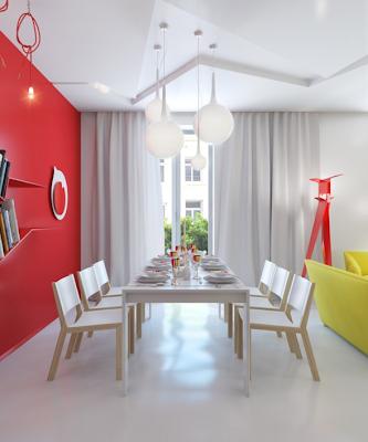 comedor apartamento pequeño colores vivos