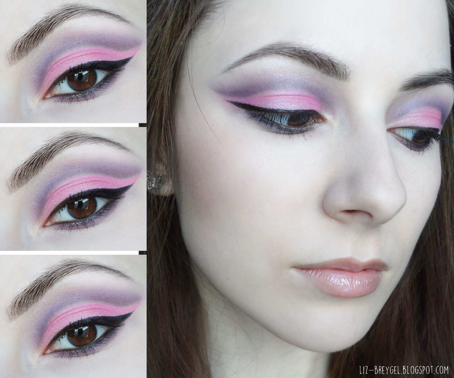 purple pink cut crease step by step makeup tutorial blogger night out makeup valentine`s day romantic makeup