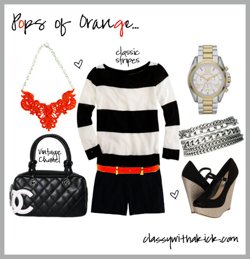 Orange Lace Statement Necklace, J Crew, Stripes, Chanel
