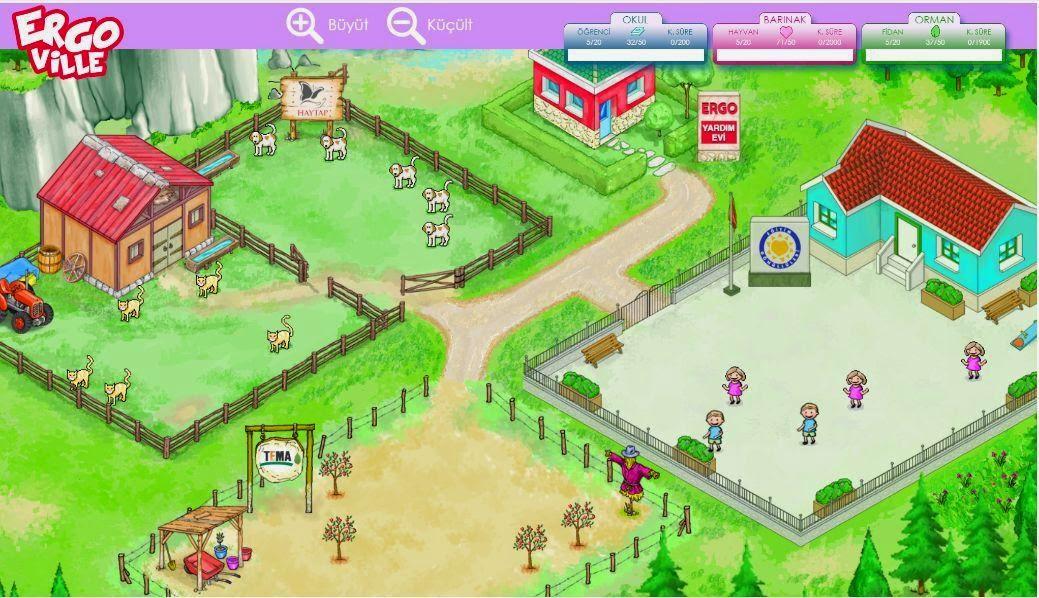 ergoville, oyun, mama yardımı, eğitim yardımı, fidan dikimi, ücretsiz oyun, tema, haytap