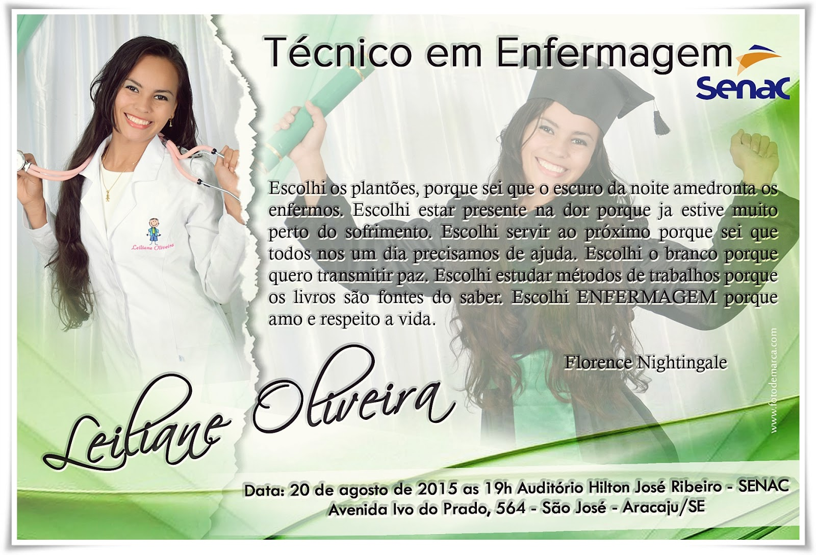 Convite Curso Técnico Em Enfermagem Senac Formaturacomfotodemarca