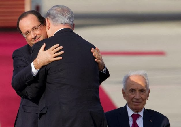 Francois Hollande, Benjamin Netanyahu and Shimon Peres