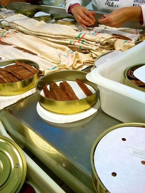 Preparacion artesanal de la anchoa en Zallo, Bermeo