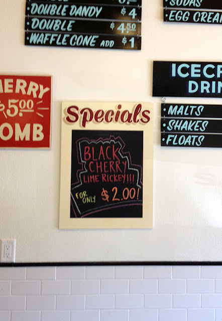 SIgns at Lynden's Soda Fountain