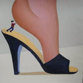 Shrunken man in shoe gav thorpe s paintings of legs feet and shoes