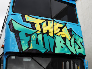 The Fun Bus painted with spray cans and brushes with Aedan Howlett Sydney New South Wales Australia