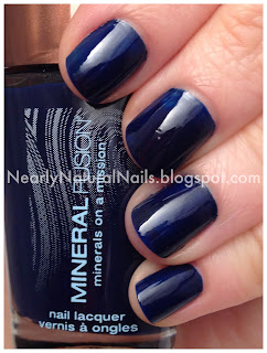 "Mineral Fusion ""Rockfall"" nail polish swatch, blue nails, cream finish nail polish, short nails manicure"