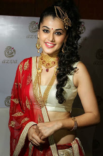 Taapsee Pannu in Designer Saree Special Hairstyle at Azva Jewellery in Trivandram
