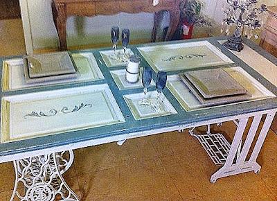 Mesas de comedor y desayunadores hechos con bases de for Mesas hechas con puertas antiguas