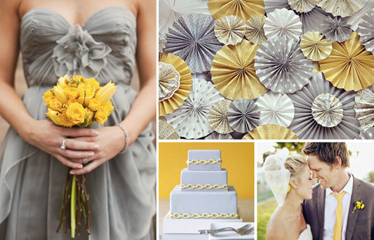 Dessert bar backdrop of yellow and grey paper rosettes via Hostess with the