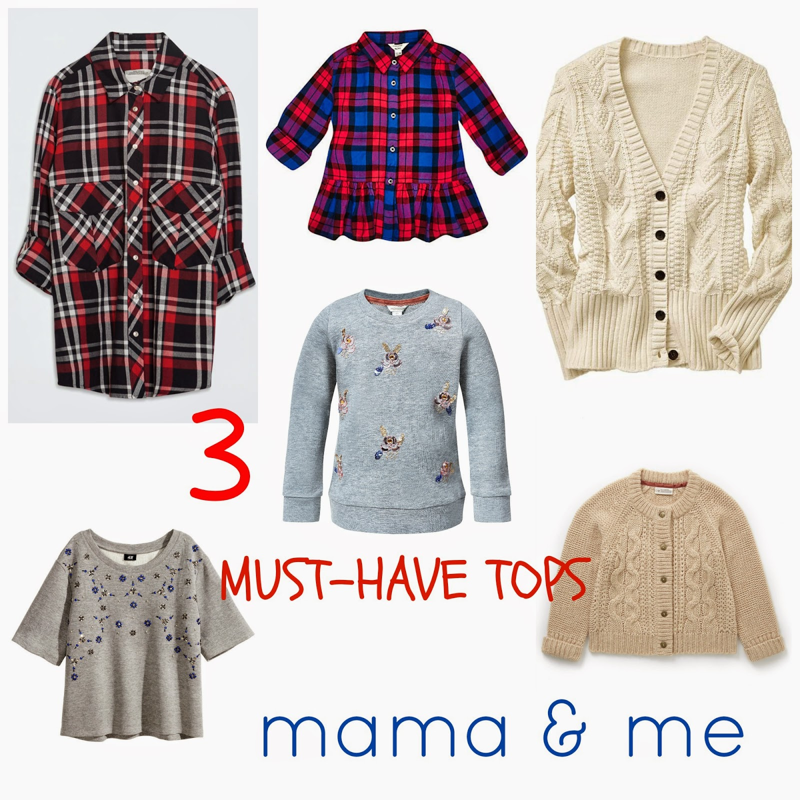 The 3 must-have tops for easy - and stylish Mama & Me days | mama and me style | mama fashion | urls fashion | river island mini | mango | zara | jewelled sweaters | checked shirt | zara | easy chic | school run style | leather leggings | zara mini | marks & Spencer | gap | cable cardigan | style | mamasVIB | fashion editor picks | stylish mums | mum and mini style | office | house of fraser | amma and girl style | mamas vin | blog | fashion | news | fashion trends | mamasVIB