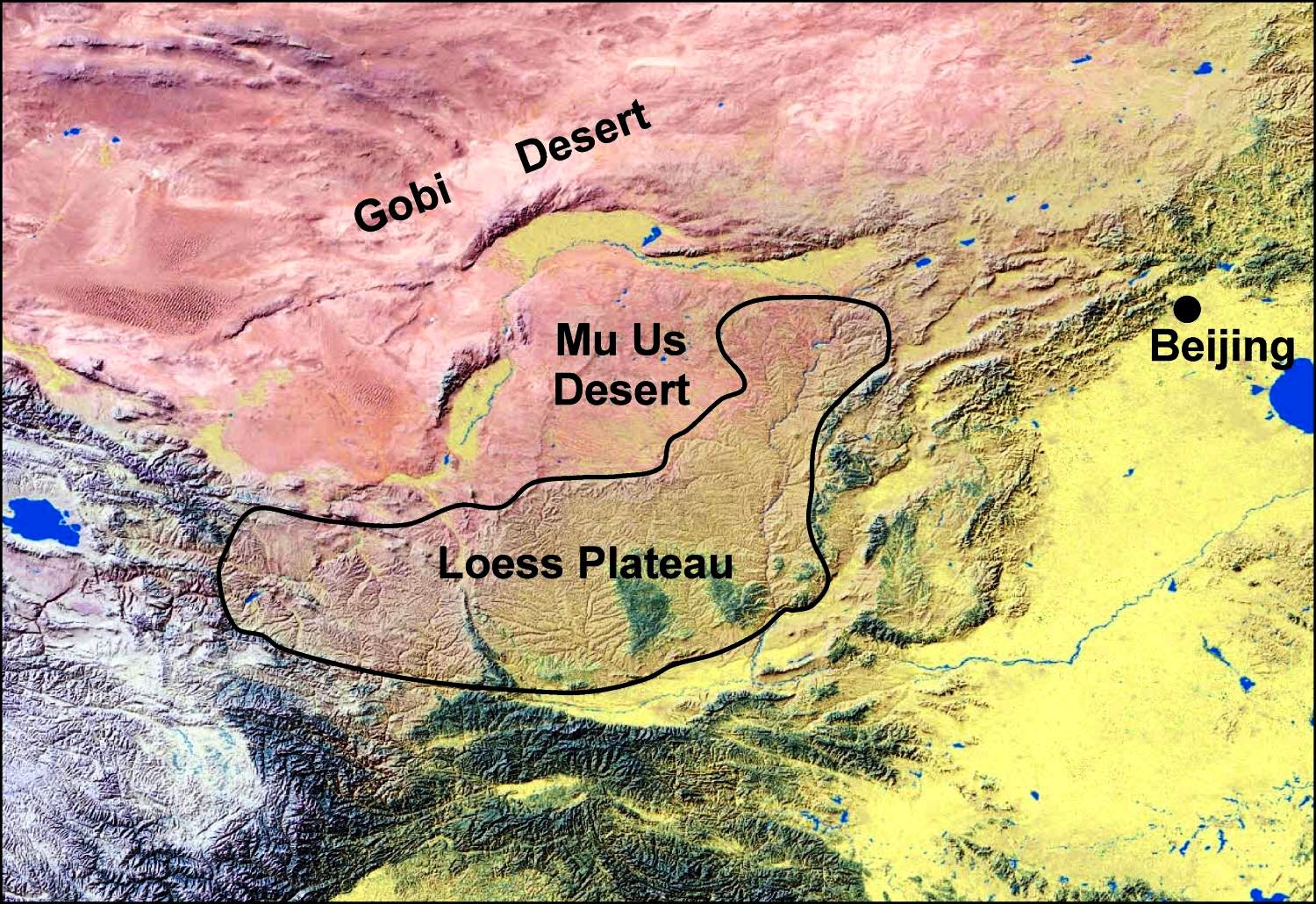 this map shows the location of chinas loess plateau in relationship to the mu us desert the gobi desert and the city of beijing