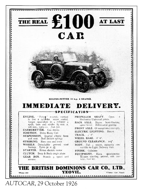 The British Dominions Car Co. Ltd. Yeovil