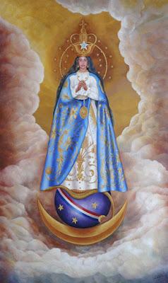 La Virgen de los Milagros de Caacupe sobre el cuarto creciente de la Luna y el globo terraqueo.