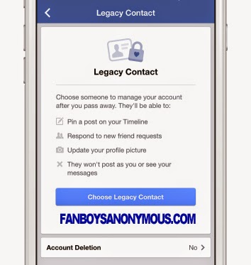 Screenshot Legacy Contract Facebook Death