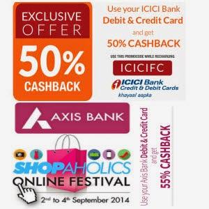 Mobile Recharge & Bill payments Axisbank 55% cashback, ICICI Bank 50% cashback