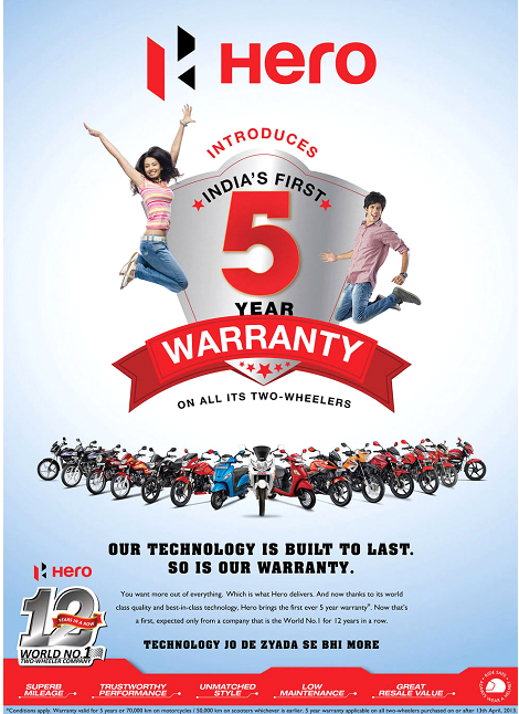 hero offers 5 year warranty on all its motorcyles - don't be
