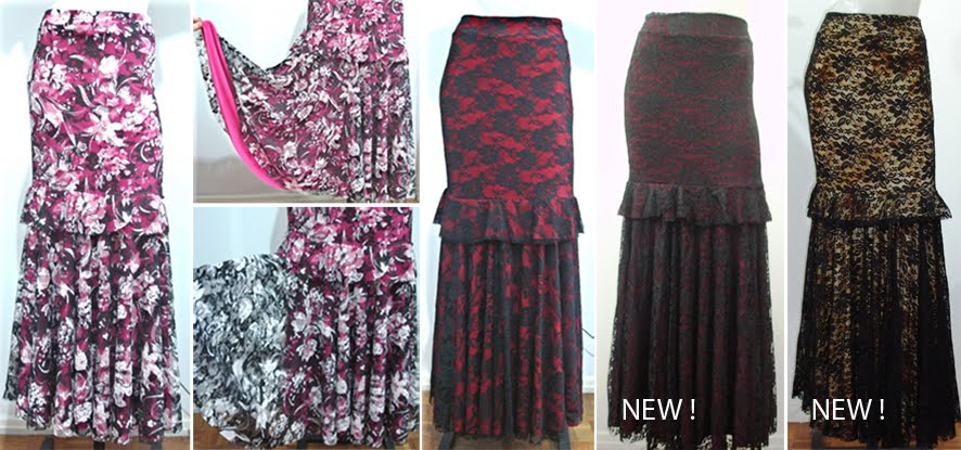 Skirt Acácia 011-4 Double layer with Lace: Pink, Red, Burgundy or Yellow Batik - US$135.00