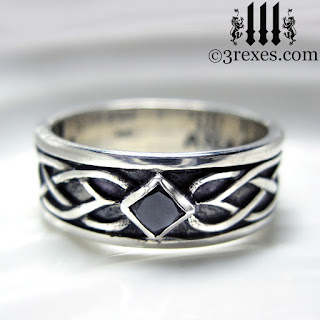 mens celtic silver soul ring with gothic black diamond