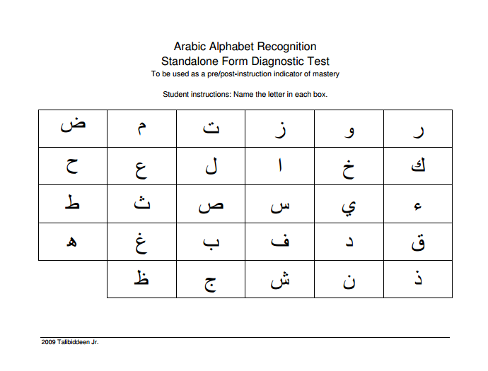 Arabic Alphabet Diagnostic Test & Recording Sheet ~ TJ Homeschooling