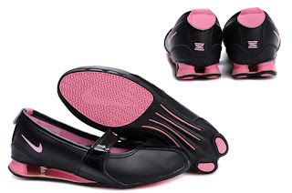 nike shox agent black grey pink running shoes .