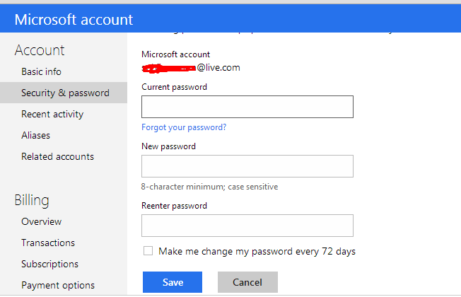 Change Reset Hotmail Password