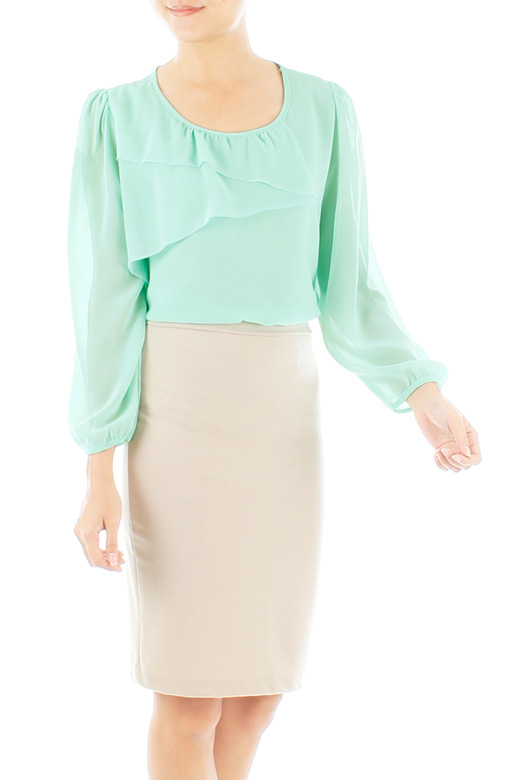 Zig-Zag Long Sleeve Chiffon Blouse