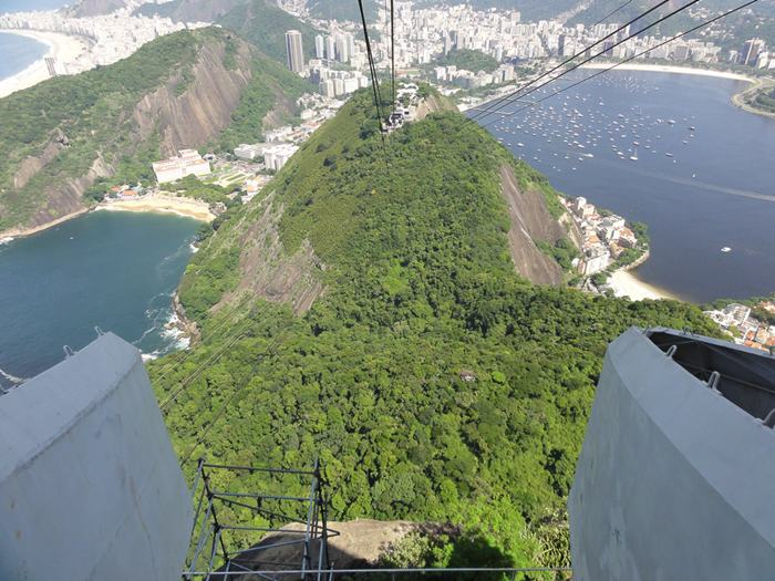 Sugarloaf Mountain, is a peak situated in Rio de Janeiro, Brazil, at the mouth of Guanabara Bay on a peninsula that sticks out into the Atlantic Ocean. Rising 396 metres (1,299 ft) above the harbor, its name is said to refer to its resemblance to the traditional shape of concentrated refined loaf sugar.