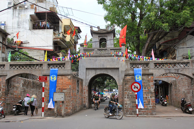 Quan Chuong City Gate is preserved with its original walls and gates since 1749 to prohibit the soldiers from troubling the passing-by people and the beginning of the resistance against the French in Hanoi, Vietnam