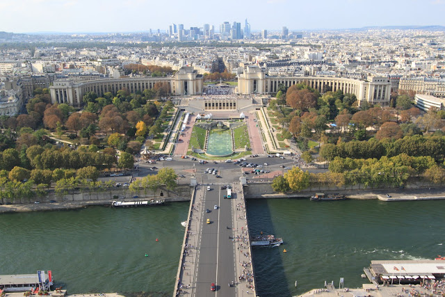 Top view of Paris downtown from the Eiffel Tower in Paris, France