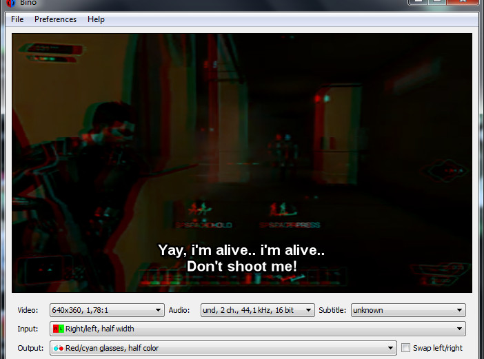 bino 3d playing movie with subtitle
