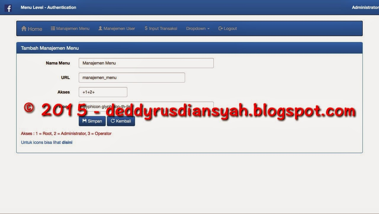 Codeigniter menu authentication for Input keyword disini perbaris ya
