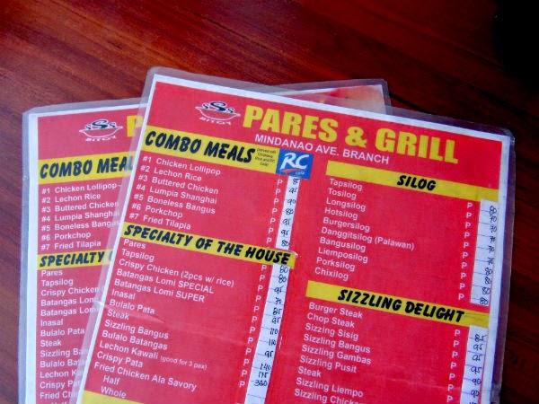 Beef Pares menu and pricelist