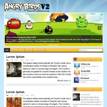 Angry BirdsV2 blogger template. template blogspot free