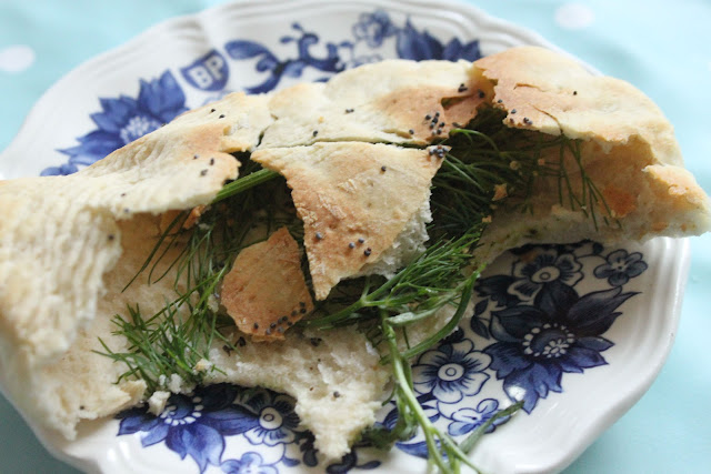 Lavash with fresh herbs such as dill, parsley, tarragon, chervil, coriander