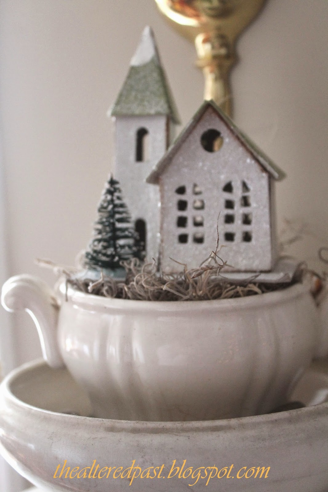 christmas home decor, ironstone tureens, putz house, the altered past