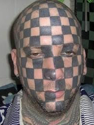 Checker Tattoo Design Ideas on Head