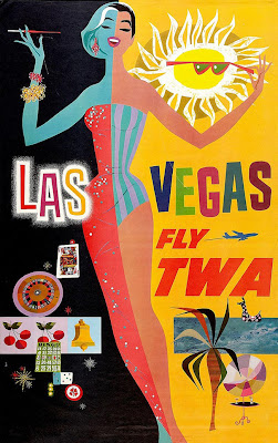 Los Vegas travel poster with girl by David Klein