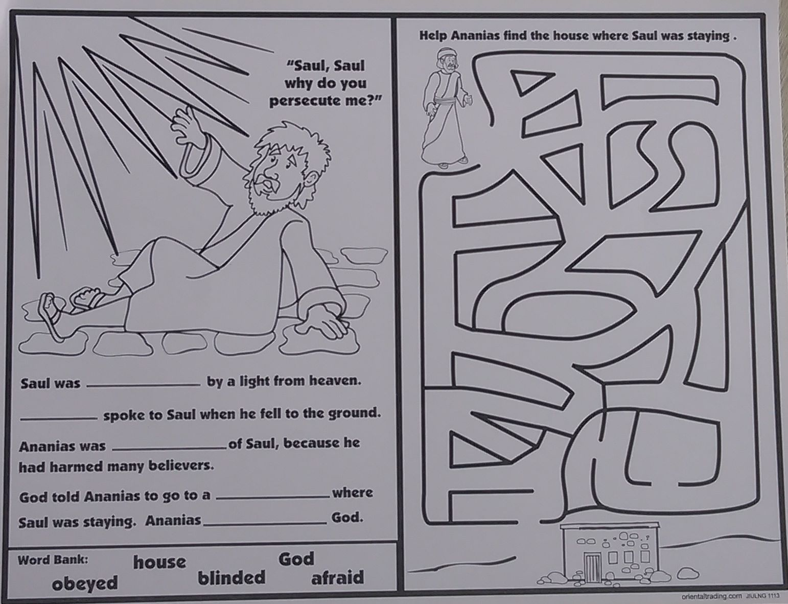 Childrens coloring sheet of saul and ananias - Ananias Helps Saul Activity Sheet Assorted Activities 1 Page Size 280 X 216mm Oriental Trading Company Bible Version Not Kjv