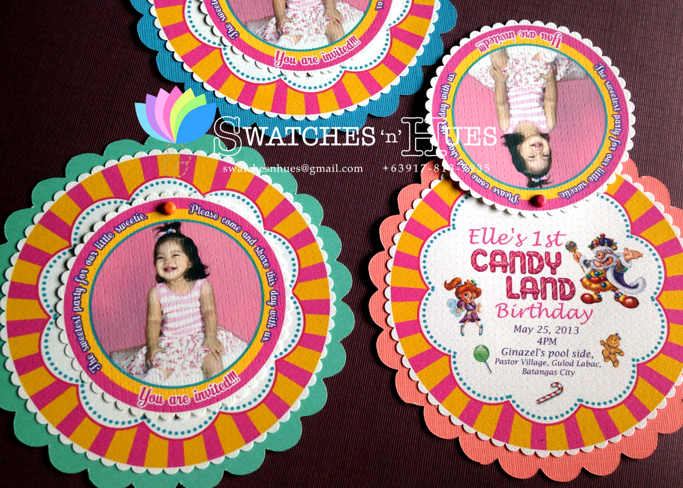 Swatches Hues Handmade with TLC Candyland themed round swivel