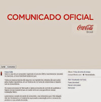 Rato na coca-cola: comunicado oficial Coca-Cola
