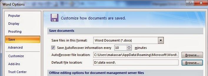 setting penyimpanan microsoft word