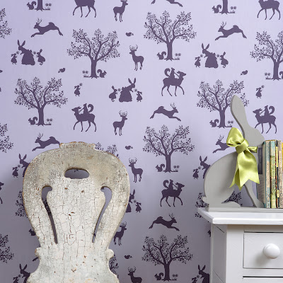 Hibou Home | Childrens Wallpaper | Enchanted Forest | Lilac/Aubergine