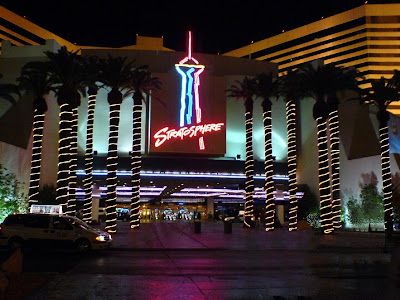 Hotel and casino entrance Stratosphere and Top of the World Restaurant