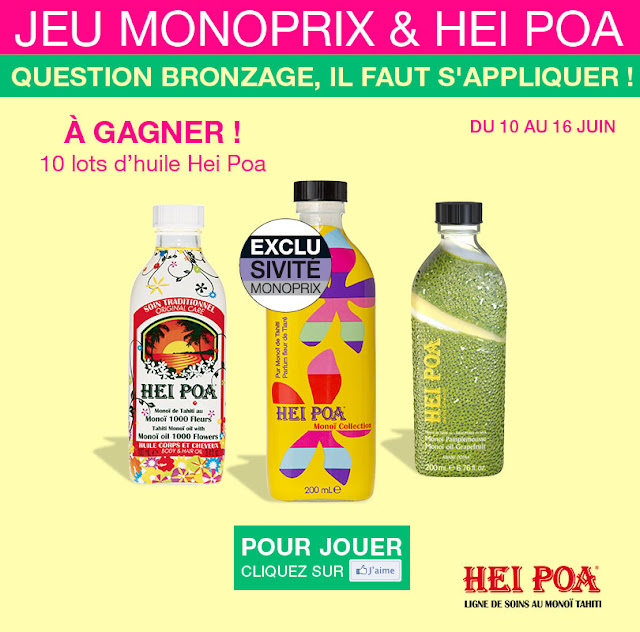 10 lots de 3 huiles de monoï Hei Poa